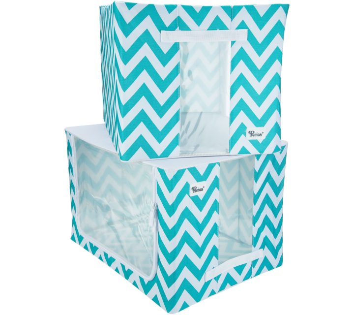 Periea Large Collapsible Strong Fabric Storage Box - 2 Pack-JNST81PK2BLUCH-XL