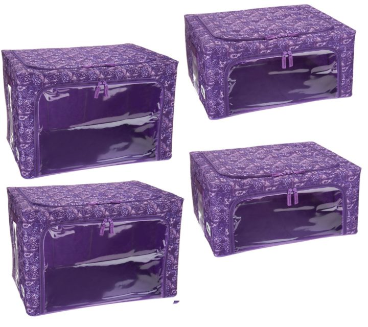 Periea-Large-Collapsible-Strong-Fabric Storage-Box-4-Pack-2-Large-and-2-Medium-Purple-Paisley-JNST81PK4PUPA-XL-M