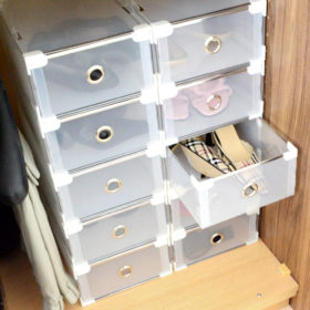 Shoe organiser size 4 white wadrobe open