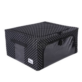 Periea-Collapsible-Clothes-&-Bedding-Storage-Boxes-Under-bed-or-in-Wardrobe-Pack-of-4-black-with-white-polka-dots-JNST81PK4BLW-M-XL-22