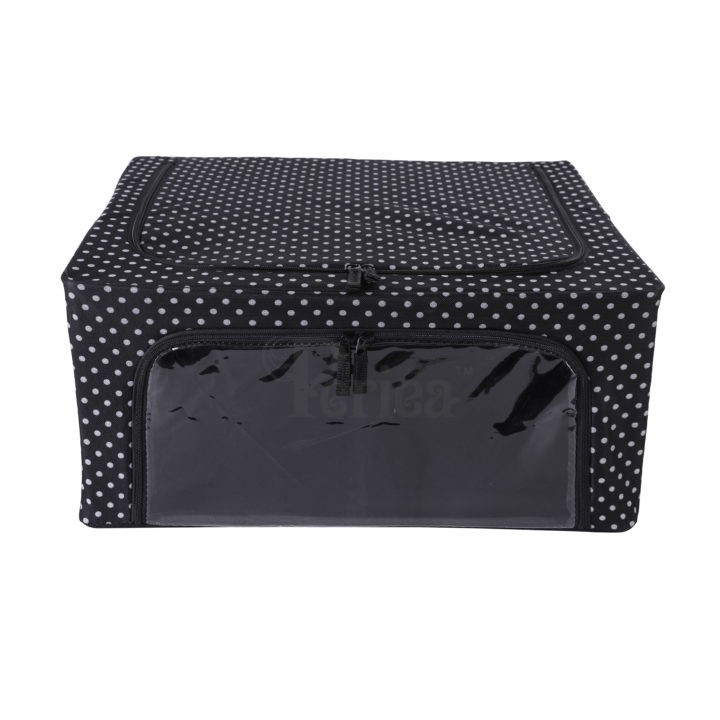 Periea-Collapsible-Clothes-&-Bedding-Storage-Boxes-Under-bed-or-in-Wardrobe-Pack-of-4-black-with-white-polka-dots-JNST81PK4BLW-M-XL-23