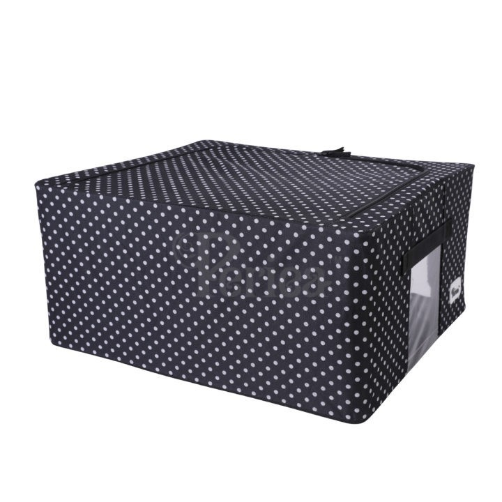 Periea-Collapsible-Clothes-&-Bedding-Storage-Boxes-Under-bed-or-in-Wardrobe-Pack-of-4-black-with-white-polka-dots-JNST81PK4BLW-M-XL-24