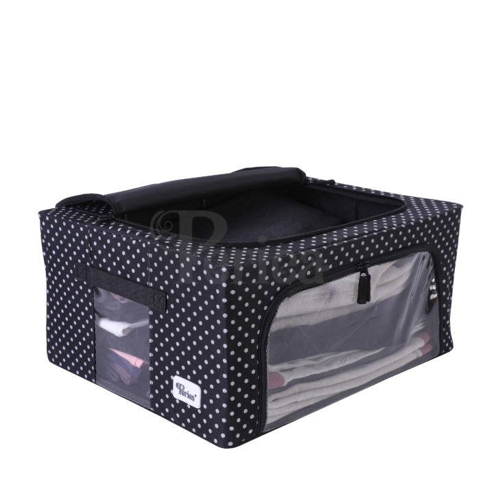 Periea-Collapsible-Clothes-&-Bedding-Storage-Boxes-Under-bed-or-in-Wardrobe-Pack-of-4-black-with-white-polka-dots-JNST81PK4BLW-M-XL-3