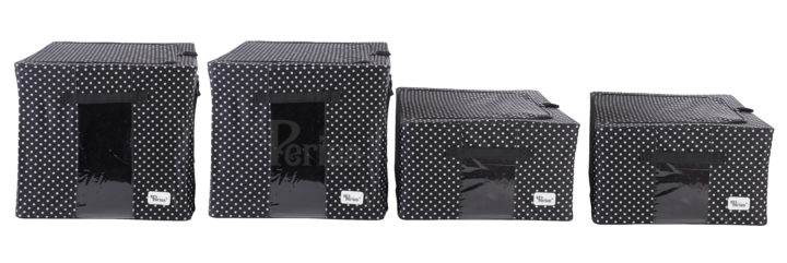 Periea-Collapsible-Clothes-&-Bedding-Storage-Boxes-Under-bed-or-in-Wardrobe-Pack-of-4-black-with-white-polka-dots-JNST81PK4BLW-M-XL-5