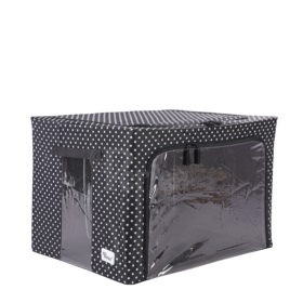 Periea-Collapsible-Clothes-&-Bedding-Storage-Boxes-Under-bed-or-in-Wardrobe-Pack-of-4-black-with-white-polka-dots-JNST81PK4BLW-M-XL-6